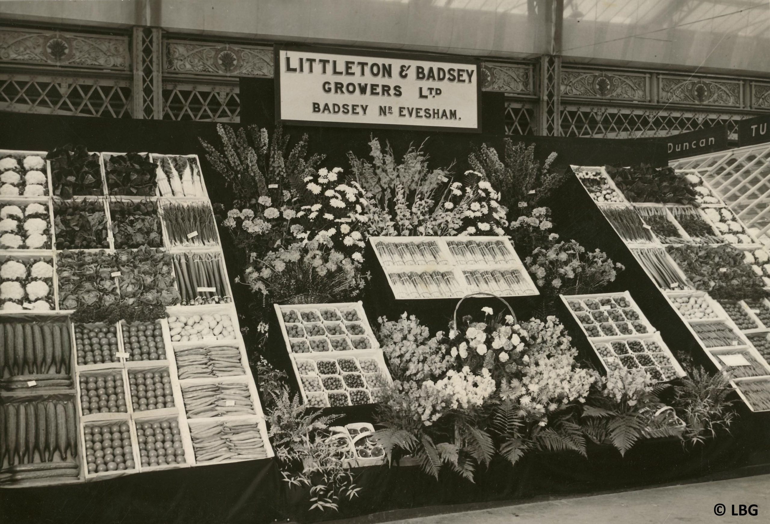 Display of market garden produce at show