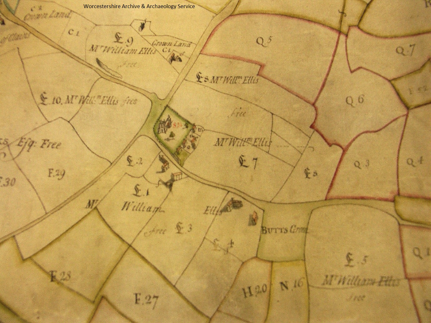 Doharty map of Claines, 1751, showing Claines Church