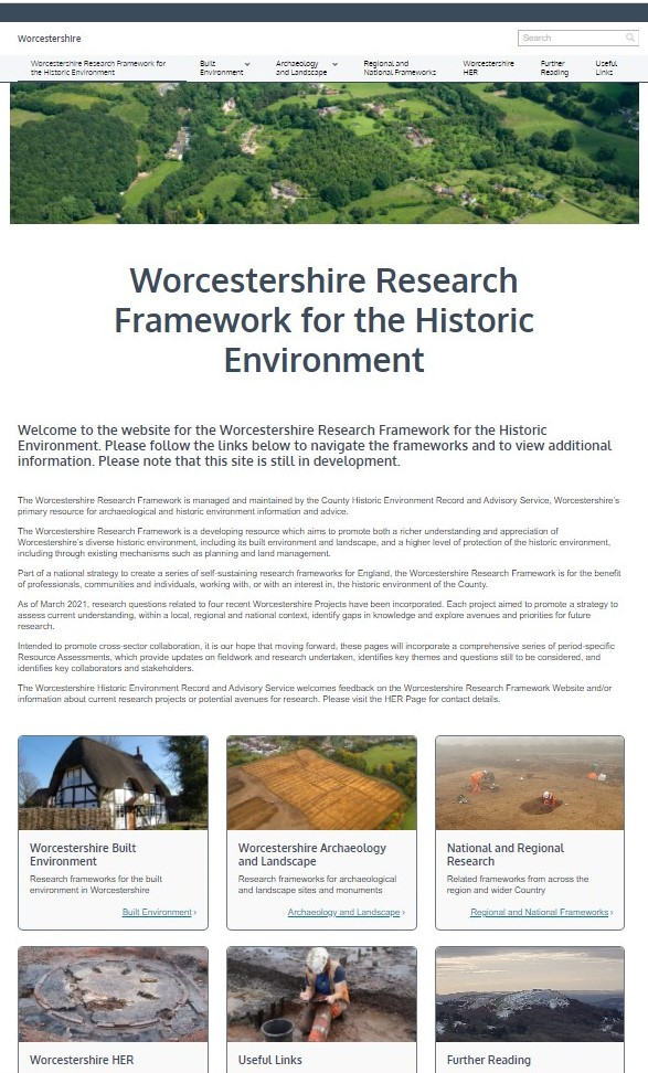 Homepage of Worcestershire Research Framework for the Historic Environment