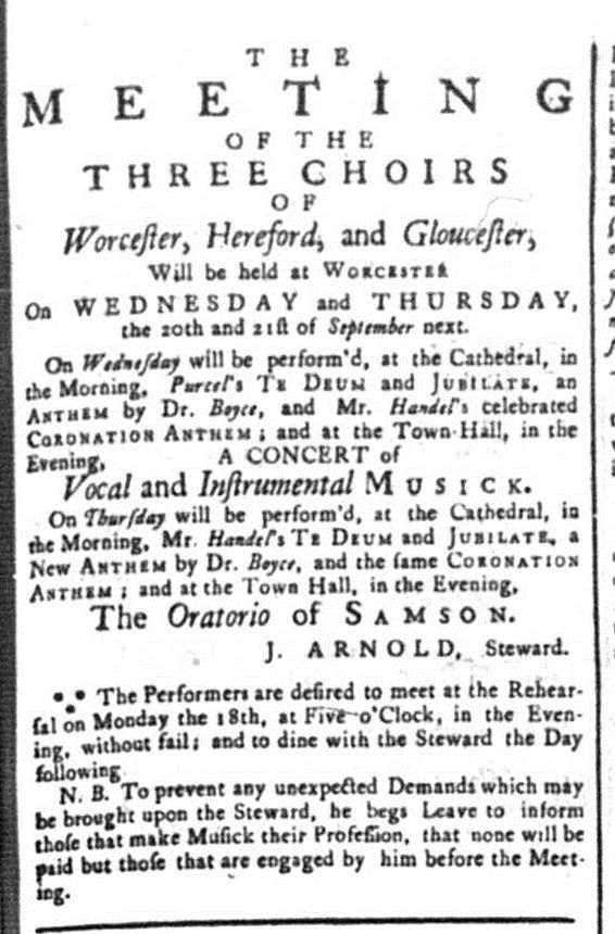 Advert for 3 Choirs Festival from Berrows Worcester Journal 1752