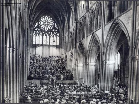 3 Choirs festival rehearsals in Worcester Cathedral 1957