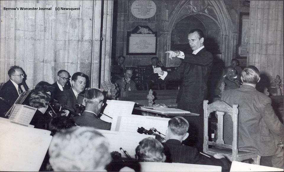 Sir Malcolm Sargent conducting at Three Choirs festival in Worcester Cathedral in 1957