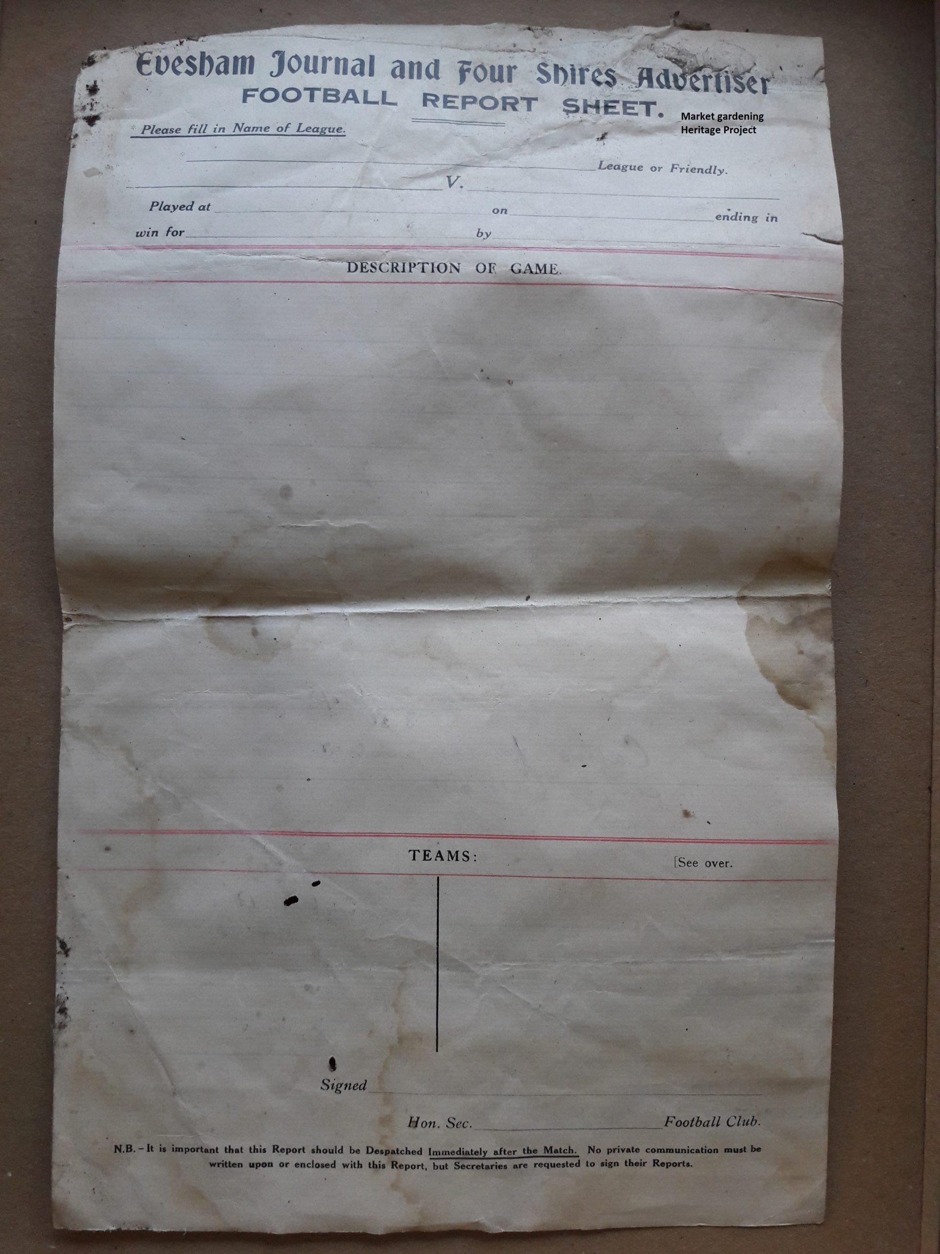 football report form