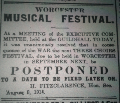 newspaper report of the cancelation of the 1914 festival