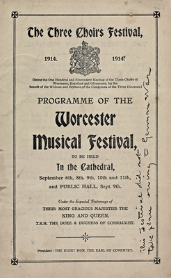 1914 Festival programme, with note to say that it has been cancelled handwritten on front.