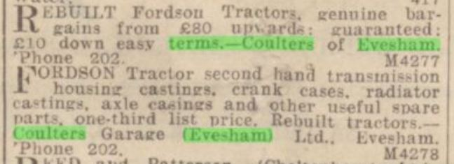 advert for a tractor from Coulter's of Evesham