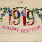 An Embroidered Postcard celebrating the New Year in 1919